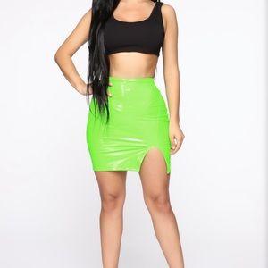 Neon Green Latex Skirt